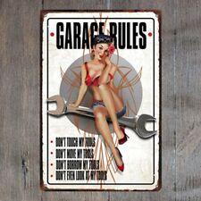 Garage Rules Vintage Tin Signs Metal Plate Garage Decor Art Wall Poster