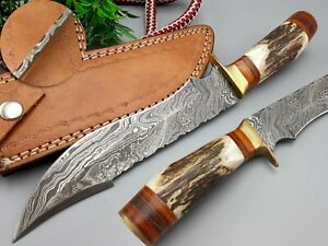 LOUIS SALVATION CUSTOM HANDMADE DAMASCUS STEEL HUNTING DAGGER KNIFE STAG HANDLE