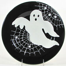 "Laurie Gates HALLOWEEN 2013 - GHOST 11.25"" Dinner Plate Spider Web Black White"