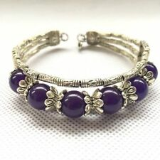 Ladies Bangle Tibetan Silver Bracelet Purple Amethyst Woman Bracelet