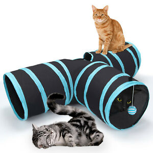 Pop Up Cat Tunnel 3 Way Pet Toy Collapsible Play Tube With Dangling Ball Gift