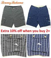 "Tommy Bahama Men's Cotton Blue Gray Striped Golf Cargo Shorts 9"" 32 34 36 38 40"