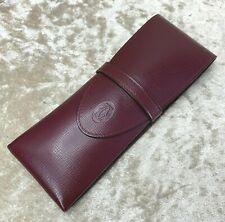 Authentic Cartier Bordeaux Leather Pen Eyeglass Accessory Leather Case