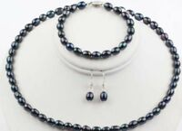 7-8mm Black Freshwater Pearls Necklace, Bracelet and Earrings Set JN164