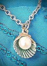 bc7ce3e7fa63 Collar de plata concha de mar playa Joyas Cadena De Acero Inoxidable de 18