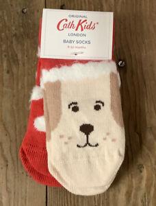 Cath Kidston Set 2 Baby Socks 6-12 Months Santa Dog