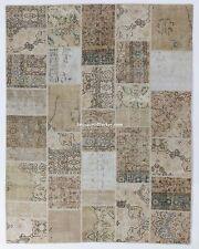 Neutral Beige, Cream, Taupe PATCHWORK Rug, Handmade from vintage Turkish carpets
