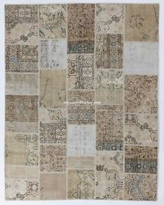 Neutral Beige, Cream, Taupe PATCHWORK Rug, Handmade from vintage Turkish carpets