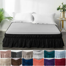 Bed Skirt Dust Ruffle Elastic Fit Wrap Around Bed Twin Queen King Size 13 Colors