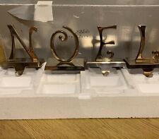 Pottery Barn NOEL Silver Plated Stocking Holders Hangers Vintage Rare Retired
