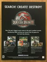 Jurassic Park III 3 GBA 2001 Vintage Poster Ad Print Art Official JP Promo Rare