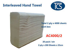 TCS 4000 X 2 Ply Sheets Interleave Hand Paper Towels Refills - Cheap