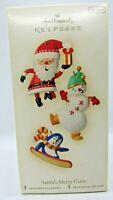 Hallmark Keepsake SANTA'S MERRY CREW, Set of three Miniature Ornaments NOS