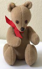 Vintage Unique Artisan Teddy Bear Christmas Felt Velour Handcrafted Ornament 80s