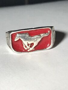 Custom Made Sterling Silver Red Enamel Ford Mustang Ring Size 10