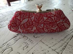Pink Haley Gorgeous Red Rhinestone Clutch (NWT'S) Red/white