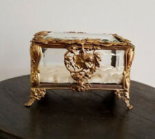 ANTIQUE ART NOUVEAU BRONZE & CRYSTAL JEWELRY BOX