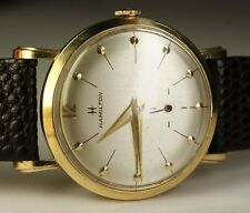 Vintage Hamilton 14K Solid Yellow Gold 770 22J Round 32mm Men's Watch Dated 1962