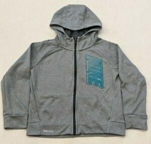 Nike Dri-Fit Full Zip Hoodie Sweatshirt Gray/Teal Boy's Girl's Youth Sz 6-7