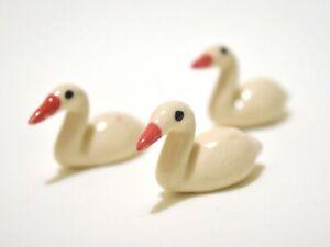 3pcs. Tiny Cute white Swan - Miniature Dollhouse FAIRY GARDEN Accessories