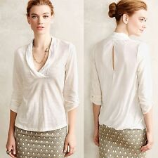 DELETTA Anthropologie Mecene Top white drape back mixed media stretch soft L