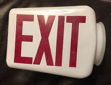 NICE 1930's THEATER EXIT SIGN 2 SIDED ART DECO LIGHT GLOBE Red White MILK GLASS
