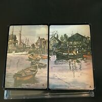 Vintage 70s Hoyle Stancraft Playing Cards with Harbor Scene In Plastic Case
