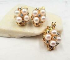 A & Z Yellow Gold Plated Freshwater Pearl CZ Cluster Earring & Pendant Set