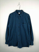 Mens Flannel Shirt UNIQLO Size XL Blue Check Long Sleeve 100% Cotton Button Up