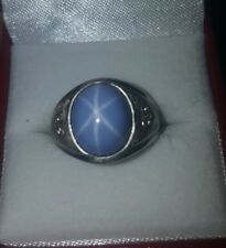 Vintage Mens Pinky Ring  Cabochon Blue Star Sapphire & Diamonds
