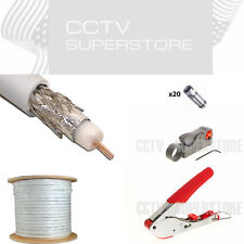1000ft RG6 Coaxial Cable Dual Shield 18 AWG Satellite TV F Compression Tool Kit