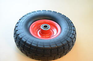 "2x10"" Flat Free Puncture Proof wheel for Hand Trolley Garden Cart Wheelbarrow"