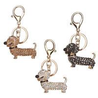Bling Crystal Dog Dachshund Keychain Purse Pendant Car Holder Key Ring LD