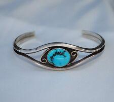 Navajo Tom H Begay Native American Sterling Silver Bezel Turquoise Cuff Bracelet