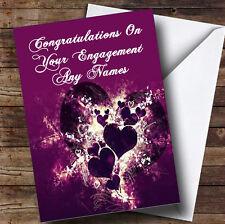 Corazones PÚRPURA y remolinos Romántica Personalizada compromiso tarjeta de saludos