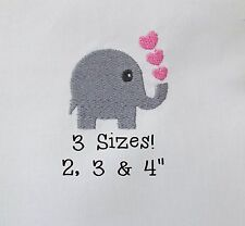 ELEPHANT WITH HEARTS Machine Embroidery Design File Download Animal Mini Small