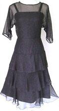 Vintage 1960s Black Red Polka Dots Tiered Dress S