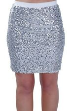 Womens Sequined Thigh Length Pencil Mini Short Sparkle Shimmer Ladies Skirt