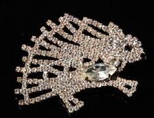 Vintage Czech handmade clear rhinestone hedgehog porcupine pin brooch