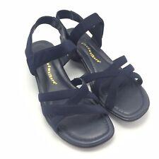 Cloudwalkers Sz 9.5 W Sandals Navy Blue Shoes Hook and Loop Peppermint Wedge