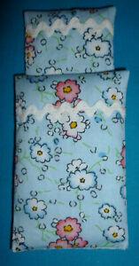 Bettwäsche für Puppenhaus - Puppenstube - Puppenbett 1 Zudecke 1 Kissen