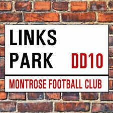 MONTROSE FC STREET SIGN ON A TEA/COFFEE COASTER. LINKS PARK 9cm X 9cm