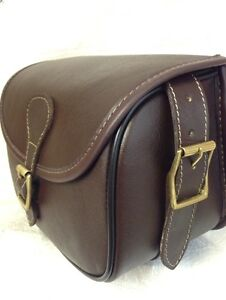 New Leather Large Size Cartridge Bag With Hinged Lid + Brass Buckles. NN