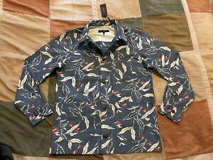 $395 Rag & Bone indigo floral mace cotton nylon shirt jacket S mens NEW