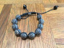Unique Swarovski Crystal Shamballa Expandable Bracelet Black Crystal Beads 10mm