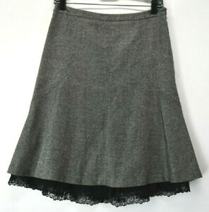 Ann Taylor Petites Women's Size 4P Gray Wool Blend Lace Trim Flare Bottom Skirt
