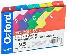 Oxford Poly Index Card Guides Alphabetical A Z Assorted Colors 4 X 6 Size