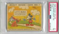 1935 MICKEY MOUSE Gum CARD Type II LET'S MAKE HOOP-EE! #1 PSA 1 Walt Disney