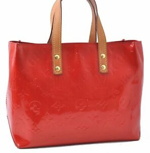 Authentic Louis Vuitton Vernis Reade PM Hand Bag Red LV A9488
