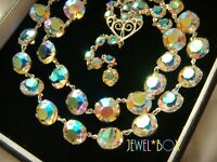 Vintage DOUBLE  STRAND AURORA BOREALIS AUSTRIAN CRYSTAL OPEN BACK NECKLACE